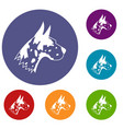 great dane dog icons set vector image vector image