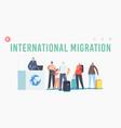 international migration landing page template vector image