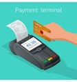isometric pos terminal confirms payment by vector image vector image