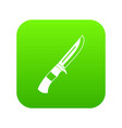 Knife icon digital green vector image
