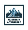 logo mountain adventure label stamp winter vector image