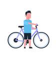 man hold bike over white background cartoon full vector image