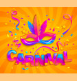 mask with feathers for fun carnival party vector image vector image