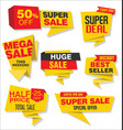 modern origami sale stickers and tags collection 3 vector image