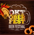 oktoberfest banner with fresh beer in vector image vector image