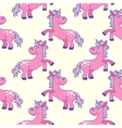 Pastel colored hand drawn unicorns seamless vector image