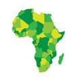 political map of africa in four shades of green on vector image vector image