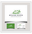 rhino leaf logo design and business card vector image vector image