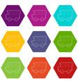 school bus icons set 9 vector image vector image