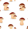 Seamless texture with Edible mushroom cep vector image