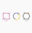 set frame border geometric circle square vector image