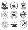 Set of vintage blacksmith labels and design vector image vector image