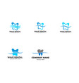 set wave dental teeth logo design template vector image vector image