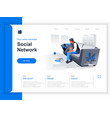 social network isometric landing page vector image