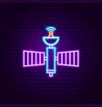 space satellite neon label vector image