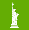 statue of liberty icon green vector image vector image