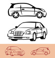 styled car icons vector image vector image
