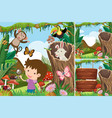 three forest scenes with boy and animals vector image vector image