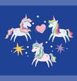 unicorns with rainbow mane bright stars heart love vector image vector image