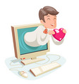 valentin day internet cute happy businessman hold vector image vector image
