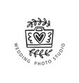 wedding photo studio logo badge vector image vector image
