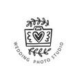 wedding photo studio logo badge vector image