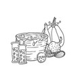 witch hat near vat with poison poison and pumpkin vector image vector image