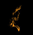 woman face silhouette in backlight vector image vector image