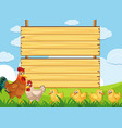wooden sign template with chickens on farm vector image vector image