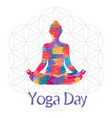 yoga day card abstract art woman in lotus pose vector image vector image