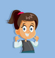 young cartoon girl smiling wearing braces vector image vector image