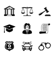 Law justice monochrome icons set vector image