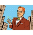 Retro Man With Glasses and Phone vector image