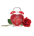 alarm clock and rose on white realistic 3d vector image vector image