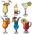 alcohol cocktails vector image vector image