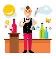 bartender juggler virtuoso cocktails at vector image