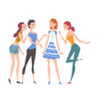 beautiful girls dressed in trendy clothes standing vector image vector image