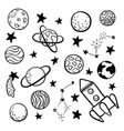 big set hand drawn doodle space elements space vector image