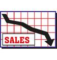 black moving down arrow financial chart vector image vector image