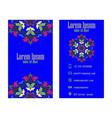blue vintage visiting card floral mandala pattern vector image