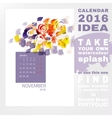 Calendar 2016 watercolor vector image