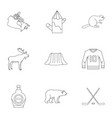 canadian symbols icon set outline style vector image vector image