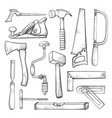 carpentry professional tools hand drawn vector image vector image
