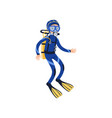 cartoon man character in special diving costume vector image vector image