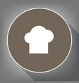 chef cap sign white icon on brown circle vector image vector image