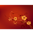 detailed flowers in red background vector image vector image