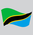 flag of tanzania waving on gray background vector image vector image