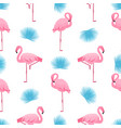 flamingo and palm leaf summer tropical seamless vector image vector image