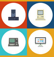 flat icon laptop set of technology display vector image vector image