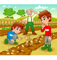 Funny scene in the vegetable garden vector image